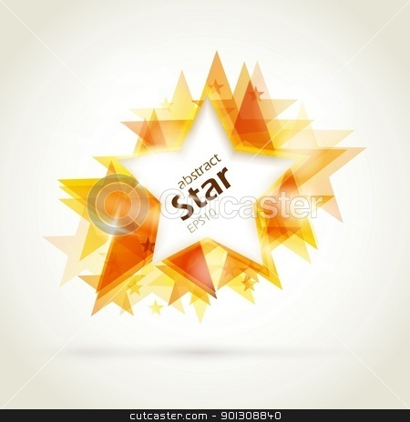Abstract golden star stock vector clipart, Abstract star background. Overlying star shapes in red golden shades with space for your text. EPS10 by Ina Wendrock