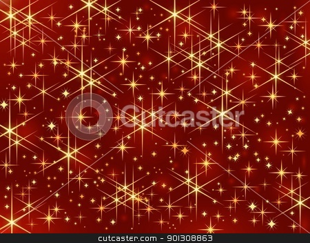 Red star background stock vector clipart, Dark red background with glowing and sparkling stars. by Ina Wendrock
