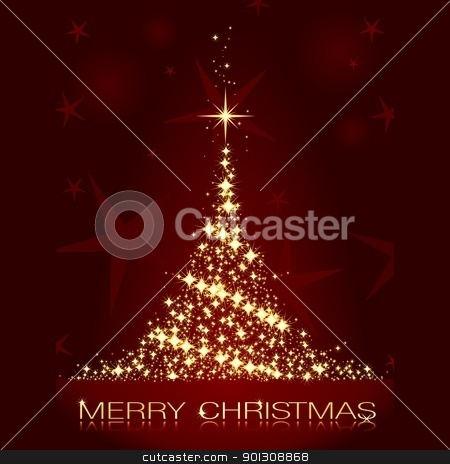 Red golden Christmas tree stock vector clipart, Golden stars forming a glistening Christmas tree on dark red background.  by Ina Wendrock