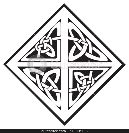 A square celtic knots design stock vector clipart, A square celtic knots design with four sections, isolated against a white background by Patrick Guenette