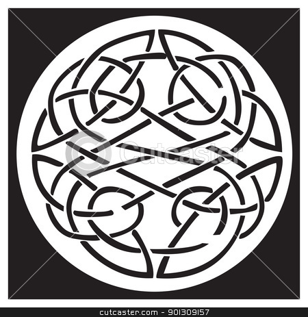 A celtic knot and pattern in a circle design stock vector clipart, A celtic knot and pattern in a circle design, inside a black square. Great for artwork or tattoo by Patrick Guenette