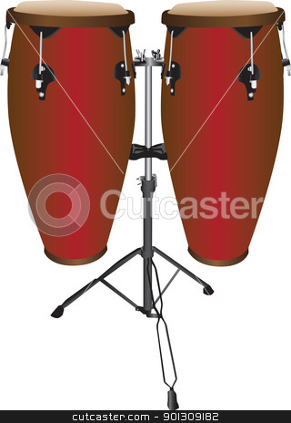 Pair of Conga Drums vector illustration stock vector clipart, Pair of Conga Drums vector illustration, isolated against a white background. by Patrick Guenette