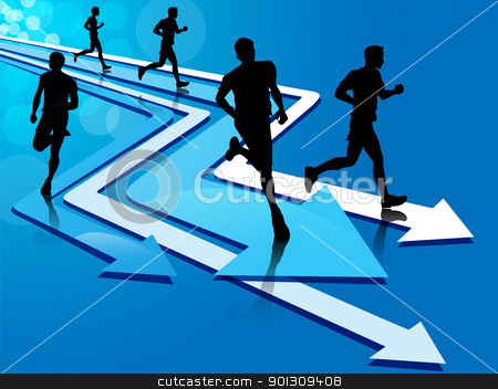Group of five man running on arrow tracks stock vector clipart, Group of five man silhouette running on blue and white arrow tracks, on a blue background with light circles. by Patrick Guenette
