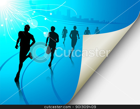 Group of runners on a blue cityscape background, with the page f stock vector clipart, A set of six runners or marathon runners, running on a track on an abstract city or cityscape background with a sun. Vector illustration. The page looks like it is flipping, can easily add content there. by Patrick Guenette