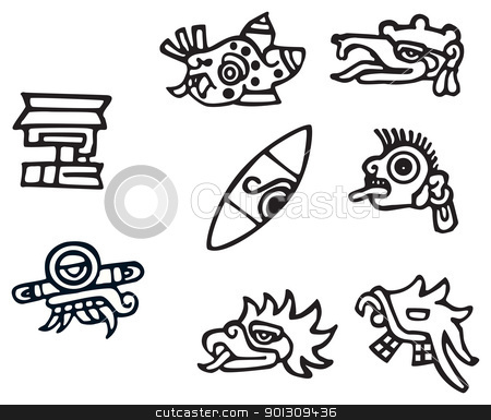 Mayan Symbols Great Artwork For Tattoos Stock Vector
