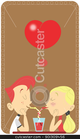Couple in love sipping in the same glass in a restaurant stock vector clipart, Young retro couple sipping in the same glass in a restaurant. Saint Valentines card design. Intertwined straws. Teen man and woman in love scene by Patrick Guenette