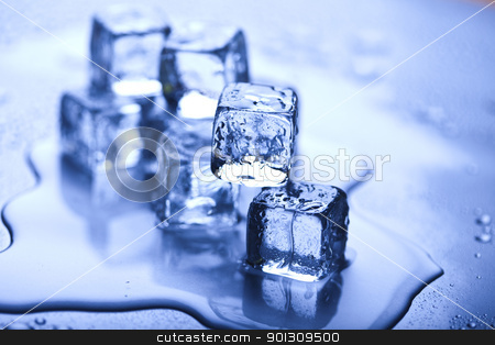 Background with ice cubes  stock photo, Ice can refer any of the 14 known solid phases of water. However, in non-scientific contexts, it usually describes ice Ih, which is the most abundant of these phases in Earth's biosphere. This type of ice is a soft, fragile, crystalline solid, which can appear transparent or an opaque bluish-white color depending on the presence of impurities such as air. The manufacture and use of ice cubes or crushed ice is common for drinks. by Sebastian Duda