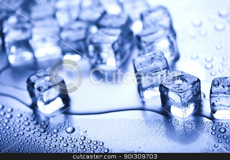 Cold background stock photo, Ice can refer any of the 14 known solid phases of water. However, in non-scientific contexts, it usually describes ice Ih, which is the most abundant of these phases in Earth's biosphere. This type of ice is a soft, fragile, crystalline solid, which can appear transparent or an opaque bluish-white color depending on the presence of impurities such as air. The manufacture and use of ice cubes or crushed ice is common for drinks.  by Sebastian Duda