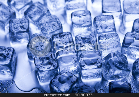 Melting ice cubes  stock photo, Ice can refer any of the 14 known solid phases of water. However, in non-scientific contexts, it usually describes ice Ih, which is the most abundant of these phases in Earth's biosphere. This type of ice is a soft, fragile, crystalline solid, which can appear transparent or an opaque bluish-white color depending on the presence of impurities such as air. The manufacture and use of ice cubes or crushed ice is common for drinks.  by Sebastian Duda