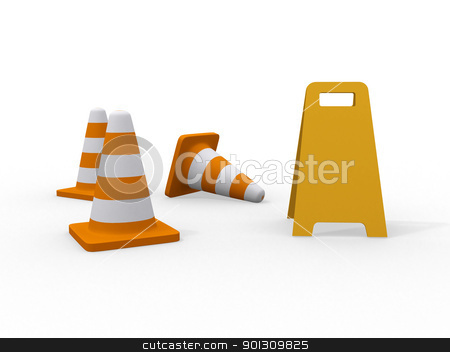 3d illustration of traffic cone knock over on white background  stock photo, 3d illustration of traffic cone knock over on white background   by dacasdo