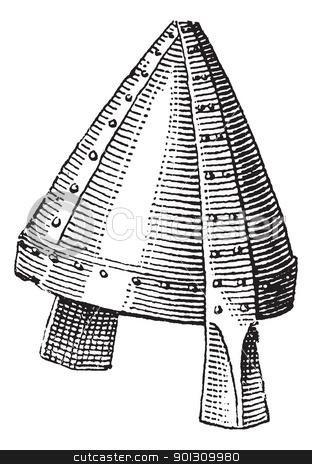 Norman helmet or galea vintage engraving stock vector clipart, Norman helmet or galea vintage engraving. Old engraved illustration of Norman helmet. by Patrick Guenette