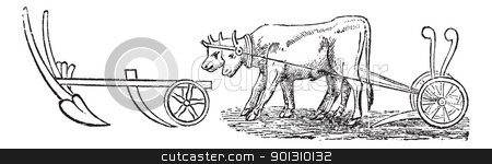 Plough vintage engraving stock vector clipart, Plough, vintage engraving. Old engraved illustration of a type of Plough being pulled by water buffalos. by Patrick Guenette