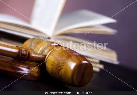 Wooden gavel barrister stock photo, Law and justice concept in studio. by Sebastian Duda