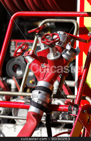 fire truck stock photo, Equipment of Fire Truck in a site by vwalakte