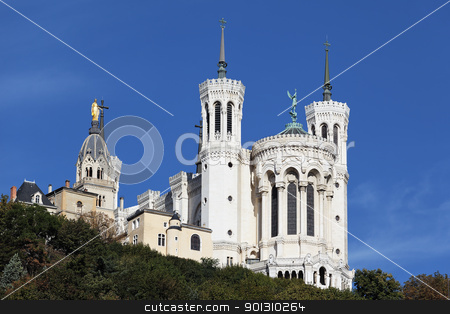 basilica in Lyon city stock photo, Lyon Cathedral in the big blue sky  by vwalakte