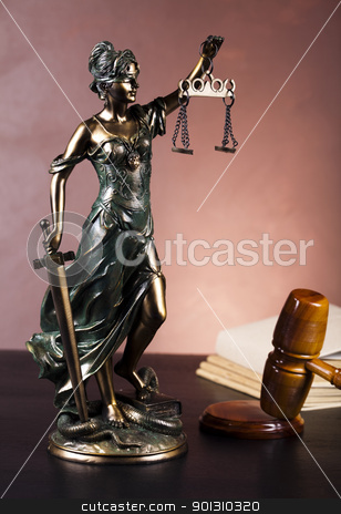 Hammer and god of law  stock photo, Law and justice concept in studio. by Sebastian Duda