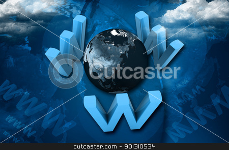 www around world stock photo, 	Digital illustration of  www around world in color background by dileep