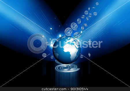 3d globe and business symbol  stock photo, Highly rendering globe and business symbol in color background by dileep