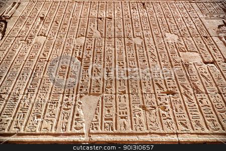 Hierogliphic scripts stock photo, Hierogliphic scripts engraved on a wall by ruigsantos