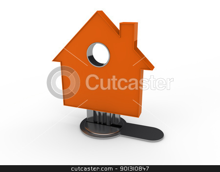 3d home key house  stock photo, 3d home key house home orange security by d3images