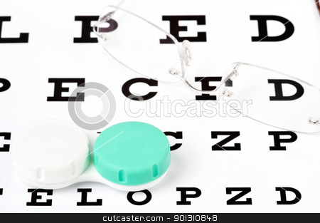 Eyecare stock photo, Contact lenses and glasses on top of an eye chart by ruigsantos
