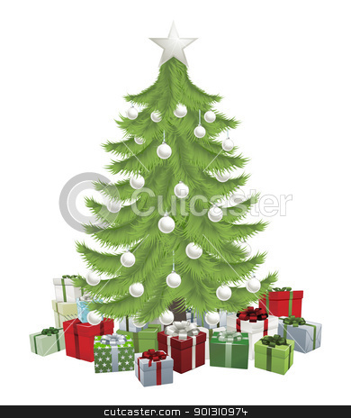 Traditional Christmas Tree stock vector clipart, Traditional green Christmas tree with baubles and gifts. by Christos Georghiou