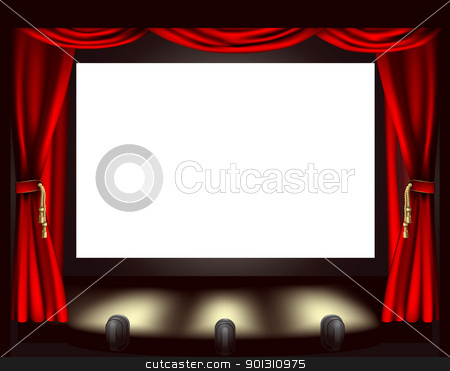 Cinema screen stock vector clipart, Illustration of cinema screen, lights and curtain by Christos Georghiou