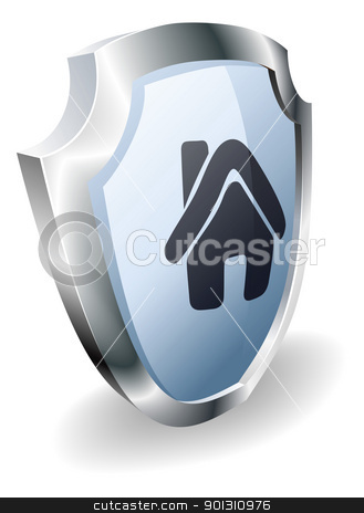House shield concept stock vector clipart, Shield with house icon on indicating it is protected, safe, guaranteed or insured by Christos Georghiou