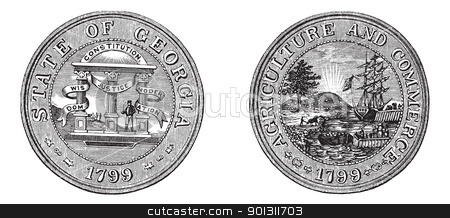 Great Seal of the State of Georgia USA vintage engraving stock vector clipart, Great Seal of the State of Georgia, USA, vintage engraving. Old engraved illustration of Great Seal of the State of Georgia with both sides, isolated on a white background.  by Patrick Guenette