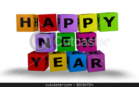 Cubes with happy new year words stock photo, Illustration color cubes with happy new year words by marphotography