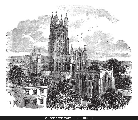 Gloucester Cathedral or the Cathedral Church of St Peter and the stock vector clipart, Gloucester Cathedral or the Cathedral Church of St Peter and the Holy and Indivisible Trinity in Gloucester, England , during the 1890s, vintage engraving. Old engraved illustration of Gloucester Cathedral from the south west.   by Patrick Guenette