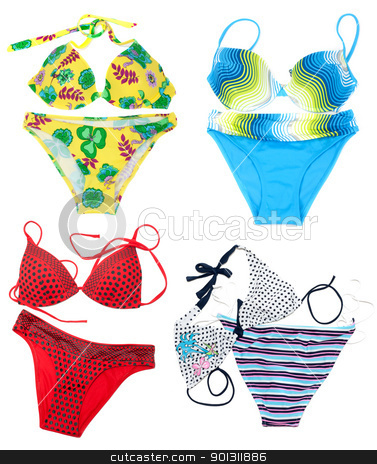 Collage from feminine varicoloured swimsuit on white background. stock photo, Collage from feminine varicoloured swimsuit on white background. The Photography is formed from several pictures. by Ruslan Kudrin