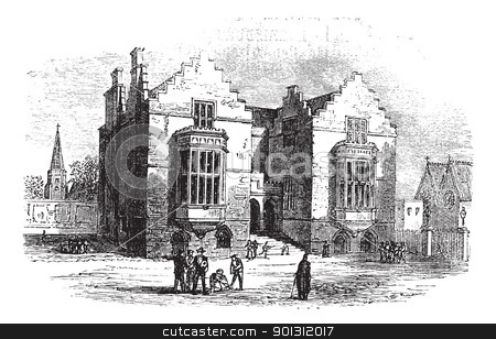 Harrow school vintage engraving stock vector clipart, Harrow school vintage engraving. Old engraved illustration of harrow architecture, during 1800s. by Patrick Guenette