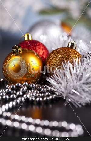 Christmas winter concept stock photo, Photography of baubles and gift connected with Christmas time and Christmas tree. by Sebastian Duda