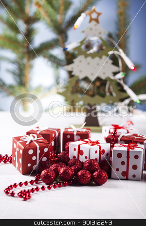 Christmas tree, spruce, gift stock photo, Photography of baubles and gift connected with Christmas time and Christmas tree. by Sebastian Duda
