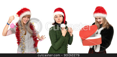Three girls in cristmas hat with gift stock photo, Three girls in cristmas hat with gift on white background by Ruslan Kudrin