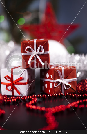 Gifts background stock photo, Photography of baubles and gift connected with Christmas time and Christmas tree. by Sebastian Duda