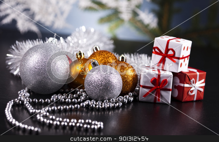 Christmas tree, spruce, baubles stock photo, Photography of baubles and gift connected with Christmas time and Christmas tree. by Sebastian Duda