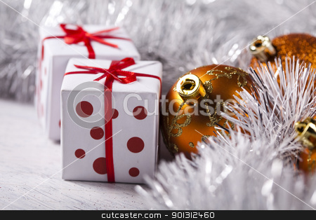 Christmas day stock photo, Photography of baubles and gift connected with Christmas time and Christmas tree. by Sebastian Duda
