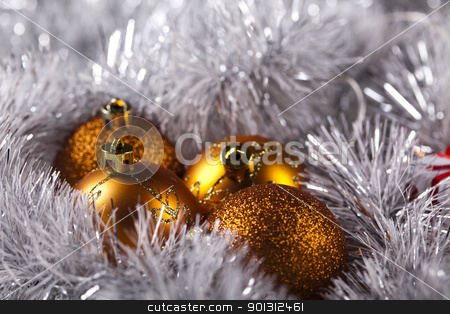 Christmas background with baubles stock photo, Photography of baubles and gift connected with Christmas time and Christmas tree. by Sebastian Duda