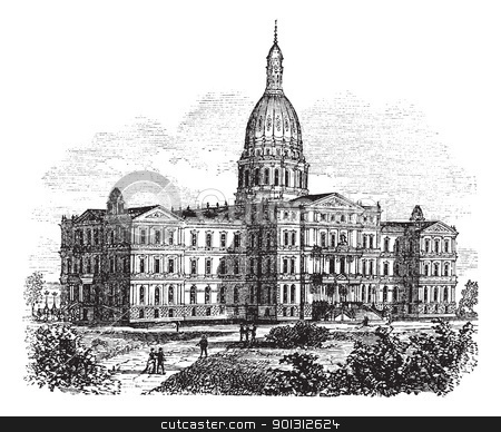 Michigan State Capitol Building. Lansing, United States vintage  stock vector clipart, Michigan State Capitol Building. Lansing, United States vintage engraving. Old engraved illustration of state capitol of michigan, Lansing, 1890s by Patrick Guenette
