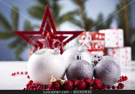 Baubles & Christmas day   stock photo, Photography of baubles and gift connected with Christmas time and Christmas tree. by Sebastian Duda