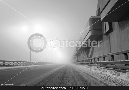 Road to the Kronstadt ...   stock photo, Foggy night ...  by Roman Pozhidaev