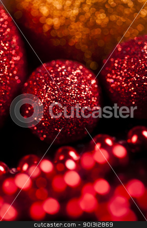 Christmas Balls stock photo, Photography of baubles and gift connected with Christmas time and Christmas tree. by Sebastian Duda
