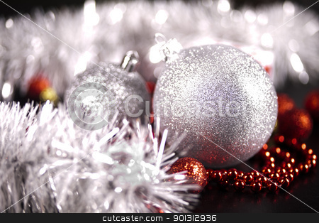 Traditional Christmas Baubles stock photo, Photography of baubles and gift connected with Christmas time and Christmas tree. by Sebastian Duda