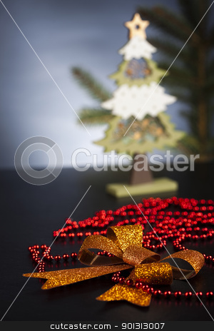 Cut spruce  stock photo, Photography of baubles and gift connected with Christmas time and Christmas tree. by Sebastian Duda