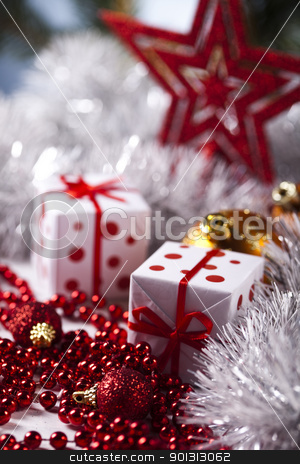 Christmas star stock photo, Photography of baubles and gift connected with Christmas time and Christmas tree. by Sebastian Duda