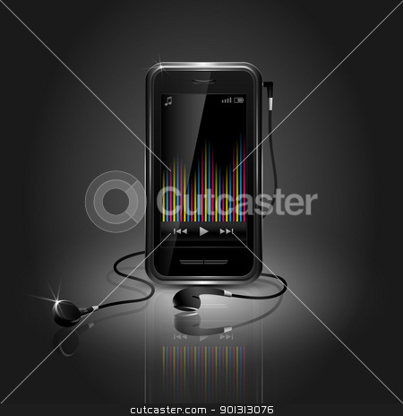 Sleek Mobile Phone Playing Music stock vector clipart, Sleek mobile phone playing music with equalizer and headset by TheModernCanvas