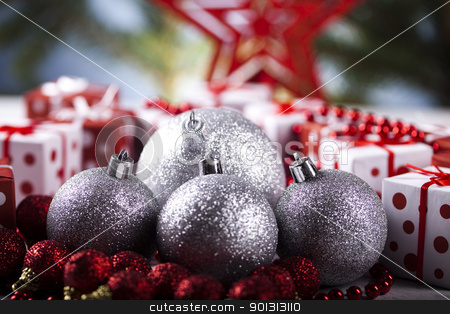 Shiny Baubles & Christmas  stock photo, Photography of baubles and gift connected with Christmas time and Christmas tree. by Sebastian Duda