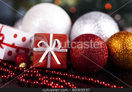 Christmas background stock photo, Photography of baubles and gift connected with Christmas time and Christmas tree. by Sebastian Duda